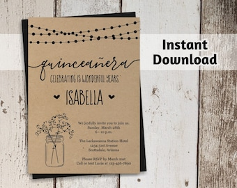 Printable Quinceñera Invitation Template - Rustic Quince, Mason Jar, Fairy Lights, Kraft Paper - 15th Birthday Instant Download Digital File