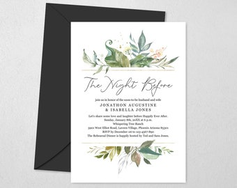 Watercolor Floral The Night Before Rehearsal Dinner Invitation Template, Printable Flower Greenery Easy Editable Instant Download File PDF