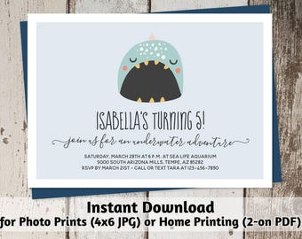 Printable Aquarium Invitation - Girl / Boy Cute Narwhal Birthday Party Template - Instant Download Digital Files > Photo Prints & Card Stock