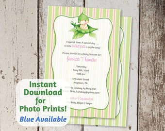Girl / Boy Sweet Pea Baby Shower Invitation - Instant digital file download - Use for photo prints or card stock | cute adorable