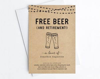 Free Beer Funny Retirement Party Invitation Template, Fun Printable Man Woman Beer Brewery Surprise Invite Evite, Instant Download Digital