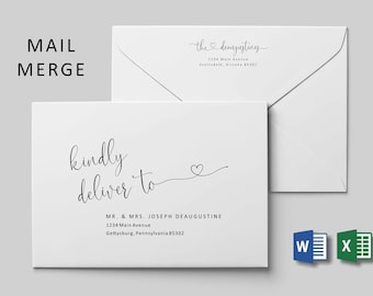 Wedding Address Envelope Template Microsoft Word Mail Merge, Printable Heart Calligraphy Instant Download Digital File A7, Christmas