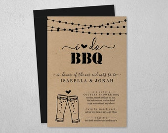 Beer Toast I Do BBQ Invitation Template - Couple Wedding / Bridal Shower, Engagement Party, Rehearsal Dinner, Printable Rustic Download File