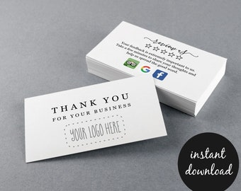 Review Request Thank You Business Card w- Icons Printable Template, Review Us Invitation Google Trip Advisor Facebook Logo, Instant Download