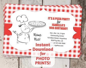 Italian Chef Pizza Party Invitation - Instant digital file download - Photo prints or card stock - Make your own pizza - Italy - Mustache