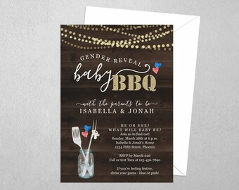 Gender Reveal BBQ Invitation Template - Printable He or She Rustic Party Invite - Instant Download Digital File PDF Barbecue Barbeque