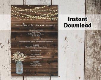 Printable Wedding Menu Template - Rustic Bar Menu - Wood Background, Mason Jar, Fairy String Light, Baby Breath - DIY PDF Instant Download