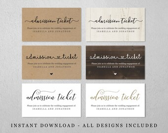 Simple Admission Ticket Template - Printable Party Event Prom Dance Entrance Coupon Voucher - Kraft Paper - Editable Instant Download File
