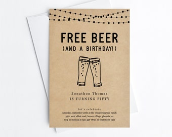 Free Beer Funny Adult Birthday Party Invitation Template, Fun Printable Brewery Invite Evite, 30th 40th 50th 60th Man Woman Download Digital