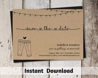 Beer Brewery Save the Date Card Printable Template - Rustic Pint Glass Toast on Kraft Paper | Easy Editable | Instant Download Digital File
