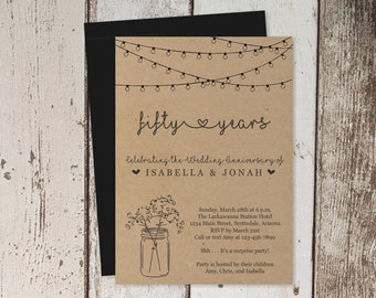 Wedding Anniversary Invitation - Rustic Printable Party Kraft Paper Template - Instant Download - 5th 10th 20th 25th 30th 40th 50th 60th