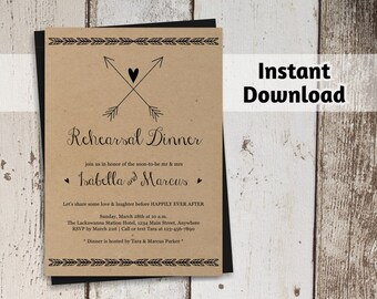Rehearsal Dinner Invitation Printable Template - Rustic Boho / Bohemium Wedding - Kraft Paper - Editable DIY Instant Download Digital File