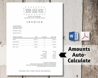 Printable Invoice Template - AUTO-CALCULATES - Word, PDF Download -  Business Photographer Photography Simple Form Receipt Billing Statement
