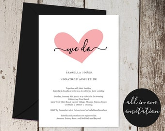 All in One Wedding Invitation with RSVP and Registry, Printable Seal & Send Template, Pink Heart We Do, Rustic Kraft Paper Digital Download