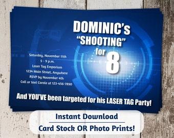 Laser Tag Invitation - Laser Tag Party Invitation - Digital File Instant Download - Boys Birthday Invite - Photo prints or card stock