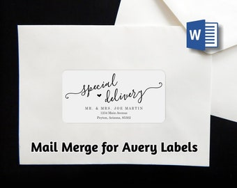 "Mail Merge Envelope Label Address Template - Avery 2 x 4"" - Microsoft Word - Printable Instant Download Digital File - Wedding Christmas"