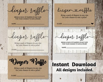 Printable Diaper Raffle Card Template - Baby Shower Invitation Insert - Digital File Instant Download - Rustic Calligraphy Heart Kraft Paper