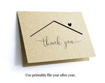 Printable Home Thank You Card Template, Blank Folded Thanks Notecard, Realtor Real Estate Agent Note Download Digital From Buyer to Seller