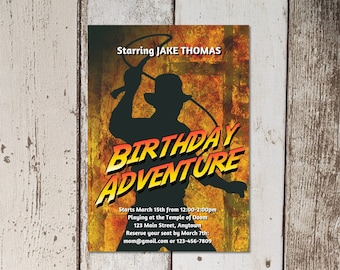 Indiana Jones Themed Birthday Party Invitation Template - Printable Invite & Evite - Editable Instant Download Digital File