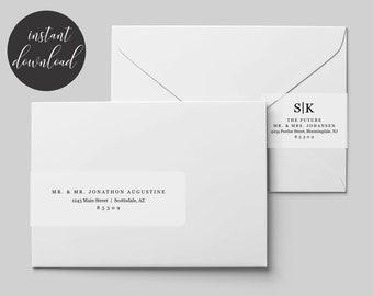 Printable Address Template for Envelope Wraparound Labels - Avery 22838 - Minimalist Modern Wrap Around - Instant Download Digital File PDF