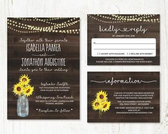 Rustic Fall Sunflowers Wedding Invitation Template - Mason Jar, Lights & Wood Printable Set | PDF Instant Download Digital File Suite