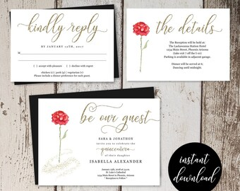 Beauty & the Beast Quinceañera Invitation Template Printable Set - Unique Quince Red Rose Gold Glitter Instant Download File DIY PDF Suite