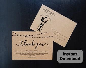 BBQ Thank You Postcard Template - Printable Thanks Card - I Do BBQ / Baby BBQ - Rustic Mason Jar - Simple Instant Download Digital File 4x6