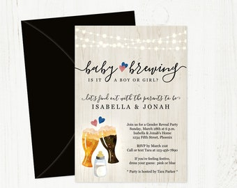 Baby is Brewing Gender Reveal Party Invitation Template - Printable Brewery Baby Shower - Beer & Baby Bottle - Instant Download Digital File
