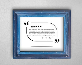 Review Sign Printable Template - Highlight a Five (5) Star Rating Print Google Yelp Facebook - PDF Instant Download Digital File - 8x10