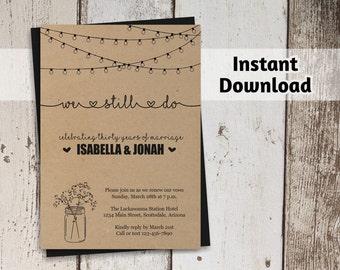 Vow Renewal Invitation Printable Template - We Still Do - Rustic Mason Jar on Kraft Paper | Editable DIY PDF | Instant Download Digital File