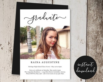 Graduation Party Invitation Template, Photo / Picture Announcement Invite, Boy / Girl, High School / College, Instant Download Digital File