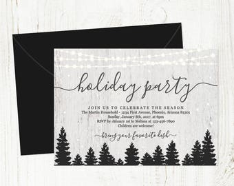 Holiday Party Invitation - Printable Christmas Party Template - Corporate, Company, Luncheon, Open House - Instant Download Digital File PDF