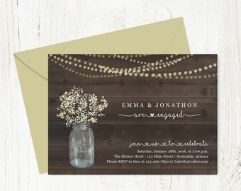Engagement Party Invitation Template - Printable Rustic Wood, Mason Jar, Fairy String Lights - Instant Download 5x7 Digital File DIY PDF