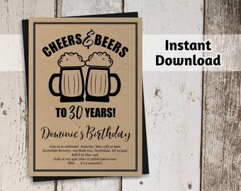 Printable Cheers & Beers Invitation Template - BLACK INK ONLY - Men Birthday Brewery Digital File Instant Download  30th 40th 50th 60th 21st