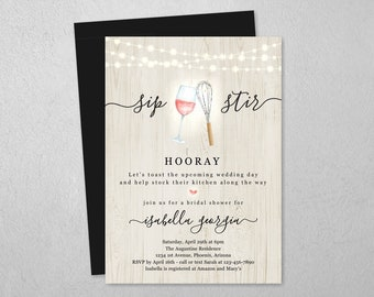 Wine & Whisk Kitchen Bridal Shower Invitation Template, Printable Sip Stir Hooray Theme Invite, Rustic Instant Download Digital File PDF