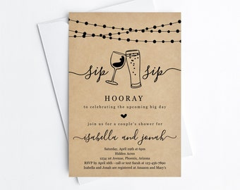 Sip Sip Hooray Couple's Shower Invitation Template, Printable Beer Wine Toast Theme Invite, Rustic Kraft Paper Instant Download Digital File