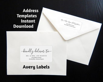 "Address Template for Envelope Labels - Avery 2 x 4"" & 1 x 2-5/8"" - Wedding, Christmas, etc. - Printable Instant Download Digital File PDF"