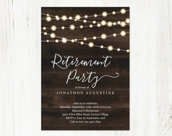 Retirement Party Invitation Template, Printable Rustic Surprise Invite & Evite, String Fairy Light Wood, PDF Instant Download Digital File