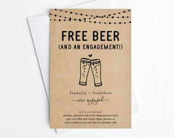 Free Beer Funny Engagement Party Invitation Template, Fun Printable Brewery Invite Evite, Editable Kraft Paper Instant Download Digital File