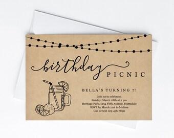 Birthday Picnic Party Invitation Template, Rustic Mason Jar Lemonade Kraft Paper, Invite & Evite Instant Download Digital File Park Backyard