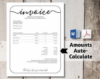 Printable Invoice Template - NO COLOR INK - Word, pdf Download -  Business, Photographer Photography Simple Form, Receipt, Billing Statement