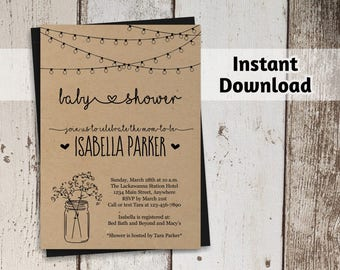Printable Rustic Baby Shower Invitation Template - Boy, Girl, Neutral - Mason Jar, Fairy Lights, Kraft Paper - Instant Download Digital File