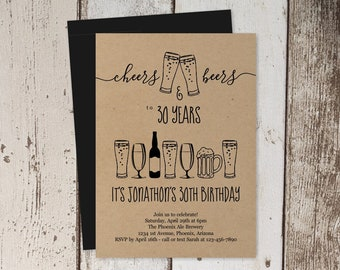 Cheers & Beers Birthday Invitation Template, Brewery Party Invite Instant Download Digital File - Kraft Paper - 30th 30 40th 40 50th 50 Year