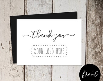 Printable Business Thank You Card Template, Add Logo, Simple Customer Appreciation Acknowledgement Thanks, Instant Download Digital File PDF