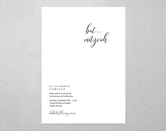 Minimalist Bar Bat Mitzvah Invitation Template - Printable Modern Chic Simple Invite & Evite, Instant Download Digital File PDF, All In One