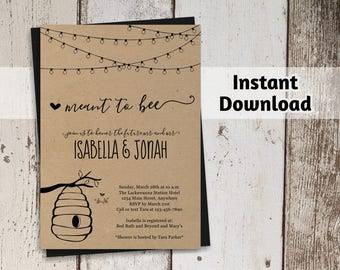 Meant to Bee Invitation Template - Couple / Bridal Shower, Engagement Party, Rehearsal Dinner, Reception Only- Printable Beehive Kraft Paper