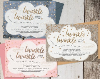 Twinkle Twinkle Little Star Baby Shower Invitation Boy Girl Gender Neutral Twin, Printable Template, Theme Instant Download Digital File PDF