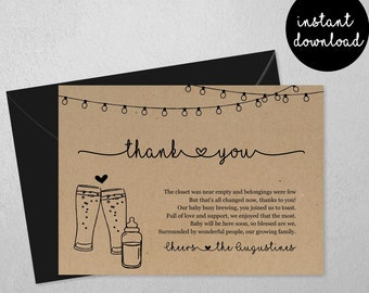 Baby Brewing Thank You Card, Beer Baby Shower Thanks, Boy Girl Gender Neutral Twins, Printable Template, Instant Download File PDF