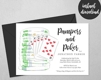 Pampers and Poker Party Invitation Template, Printable Daddy Diaper Guys / Men Baby Shower Invite & Evite, Instant Download Digital File PDF