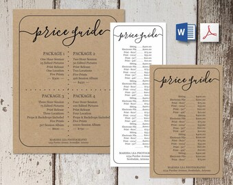 Printable Price List Template - NO COLOR INK - Word, Pdf Instant Download -  Business, Photographer's Simple Pricing Guide / Sheet